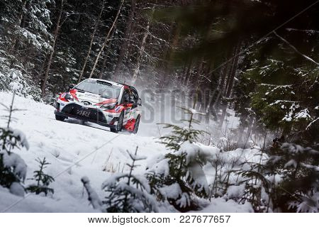 VARGASSEN, SWEDEN - 02-11-2017:  Juho Hanninen with his Toyota Yaris WRC car during the event Rally Sweden 2017