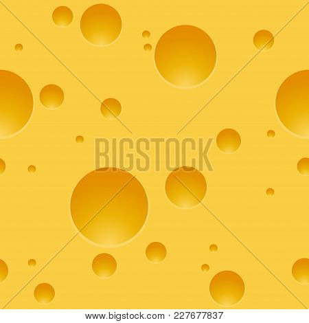 Texture Of The Cheese With Holes Seamless Pattern. Vector Illustration Yellow Background