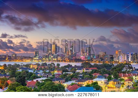 Perth. Aerial Cityscape Image Of Perth Skyline, Australia During Dramatic Sunset.