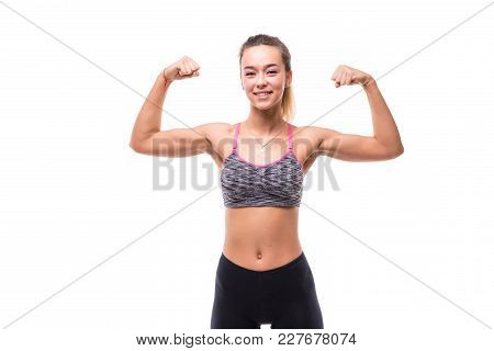 Sport Young Woman With Perfect Body Showing Biceps, Fitness Girl Over White Background