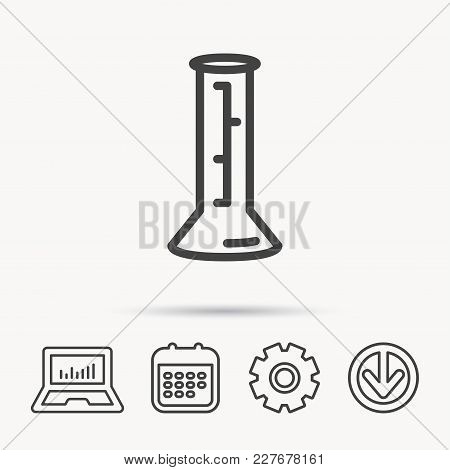 Beaker Icon. Laboratory Flask Sign. Chemistry Or Pharmaceutical Symbol. Notebook, Calendar And Cogwh