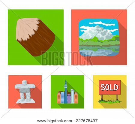 Lakes, Mountains, The Tower Of Si-en And Other Symbols Of Canada.canada Set Collection Icons In Flat