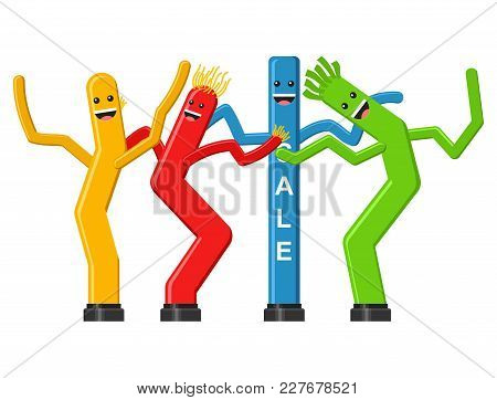 Dancing Inflatable Tube Man Set In Flat Style Isolated On White Background. Wacky Waving Air Hand Fo