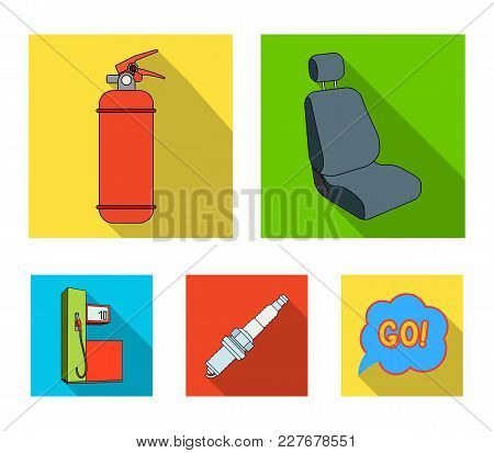Chair With Headrest, Fire Extinguisher, Car Candle, Petrol Station, Car Set Collection Icons In Flat