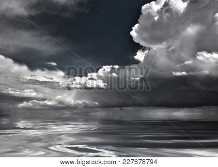 Dramatic clouds reflected in water surface. 3D rendering