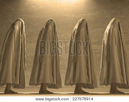 Human figures under cloth. 3D rendering