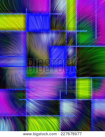 Abstract colorful pattern in Mondrian style. 3D rendering