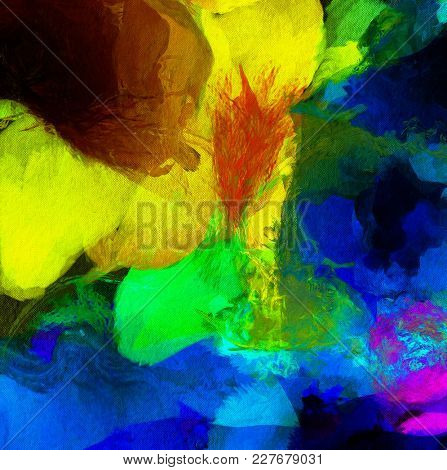 Colorful Abstract Painting. Wide brush strokes. 3D rendering