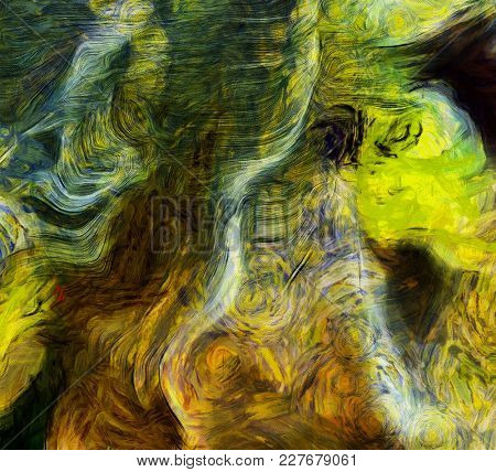 Abstract painting, Swirling Brush Strokes. Vincent Van Gogh Inspired. 3D rendering