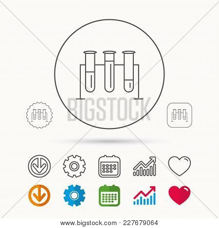 Laboratory Bulbs Icon. Chemistry Analysis Sign. Science Or Pharmaceutical Symbol. Calendar, Graph Ch