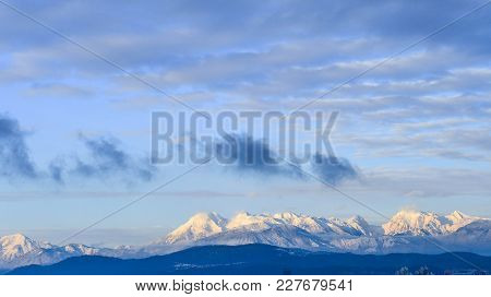 Panoramic View Of The Beautiful Mountains Alps