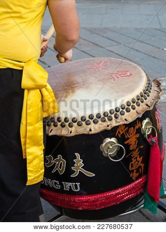 Parma, Italy - September 2015: Traditional Japanese Show With Drummer Performance During Public Fair