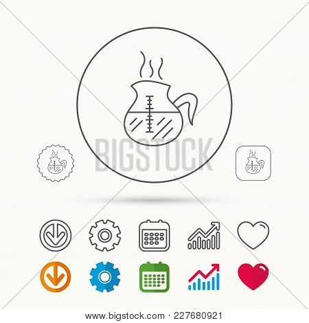 Coffee Kettle Icon. Hot Drink Pot Sign. Calendar, Graph Chart And Cogwheel Signs. Download And Heart