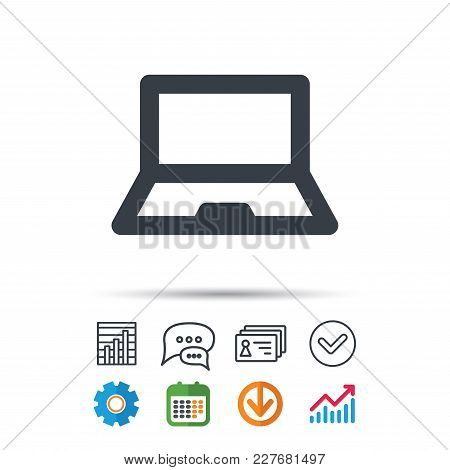 Computer Icon. Notebook Or Laptop Pc Symbol. Statistics Chart, Chat Speech Bubble And Contacts Signs