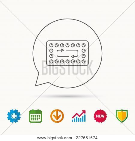 Contraception Pills Icon. Pharmacology Drugs Sign. Calendar, Graph Chart And Cogwheel Signs. Downloa