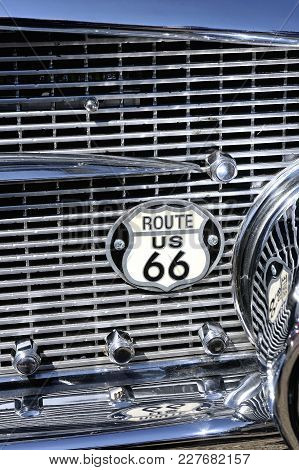 Ales, France - April 9, 2017: Badge Road 66 On A Grille Of Old Buick