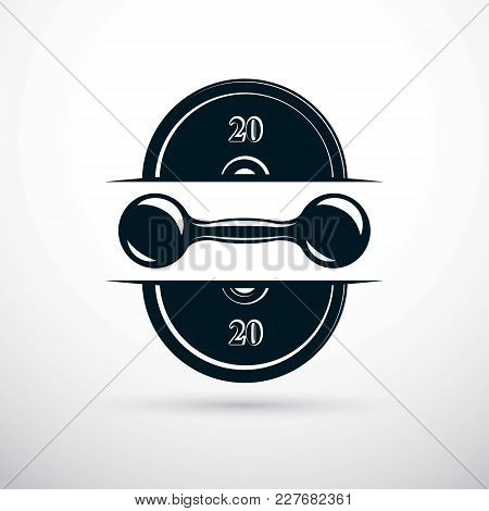 Dumbbell And Disc Weight Vector Illustration, Fitness And Cross Fit Sport Equipment For Healthy Life