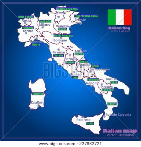 Map Of Italy. Bright Illustration With Map. Illustration With Yellow Background. Italy Map With Ital