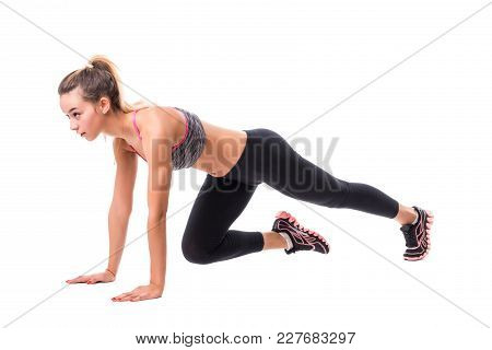 Tan Skin Fitness Girl In Sport Exercise Warm Up In White Studio Room, Practice Pose Abs Power Planki