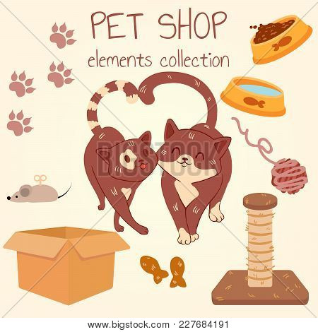 Two Cat Lovers. Pet Shop Poster Design With Many Accessories. Vector Illustration.
