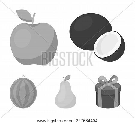 Coconut, Apple, Pear, Watermelon.fruits Set Collection Icons In Monochrome Style Vector Symbol Stock