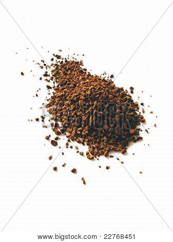 Instant coffee granule pile