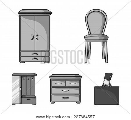 Armchair, Cabinet, Bedside, Table .furniture And Home Interiorset Collection Icons In Monochrome Sty