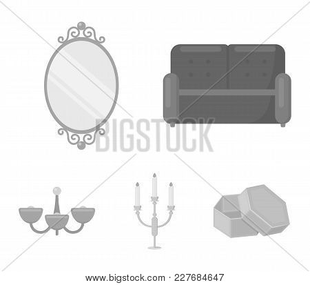 Sofa, Mirror, Candlestick, Chandelier.furniturefurniture Set Collection Icons In Monochrome Style Ve