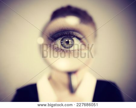 Funny Woman Office Worker Secretary With Magnifier Loupe, Magnifying Glass.