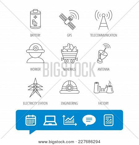 Worker, Minerals And Engineering Helm Icons. Gps Satellite, Electricity Station And Factory Linear S