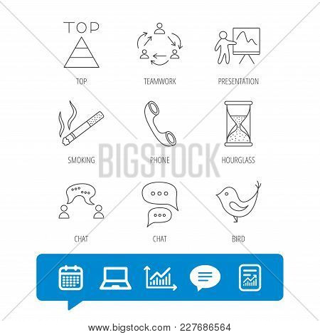 Teamwork, Presentation And Phone Call Icons. Chat Speech Bubble, Hourglass And Bird Linear Signs. Sm