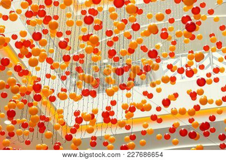 Plastic Balls Suspended On The Ceiling In The Mall