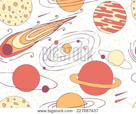 Seamless Pattern Of Space Objects. Planets And Comet. Vector