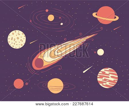 Space Illustrationa Of Cosmic Planets, A Meteorite And A Galaxy In Starry Sky. Vector