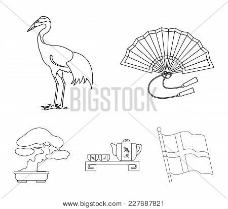 Fan, Red Crown Crane, Tea Ceremony, Bonsai.japan Set Collection Icons In Monochrome Style Vector Sym