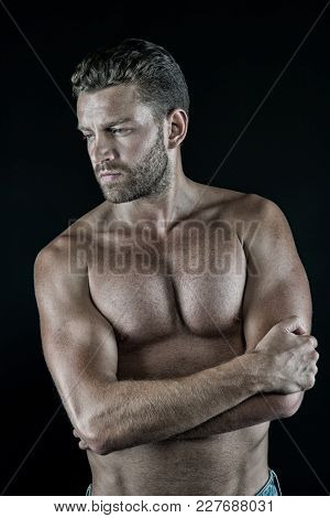 Macho With Sexy Torso, Muscles, Biceps, Triceps On Dark Background. Sport, Fitness, Bodybuilding, Fi