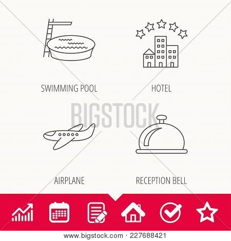 Hotel, Swimming Pool And Airplane Icons. Reception Bell Linear Sign. Edit Document, Calendar And Gra