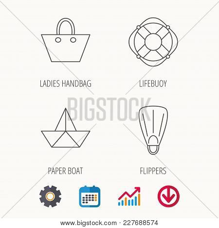 Paper Boat, Flippers And Lifebuoy Icons. Women Handbag Linear Sign. Calendar, Graph Chart And Cogwhe