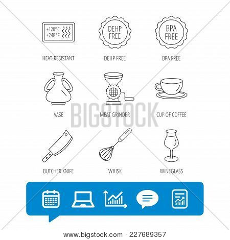 Coffee Cup, Butcher Knife And Wineglass Icons. Meat Grinder, Whisk And Vase Linear Signs. Heat-resis
