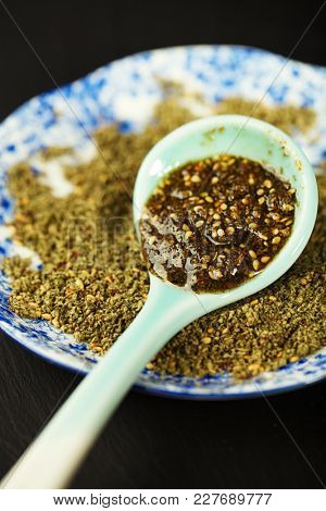 Zaatar spice mix with olive oil