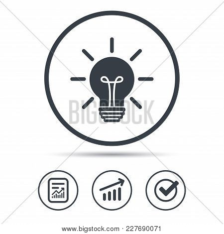 Light Bulb Icon. Lamp Sign. Illumination Technology Symbol. Report Document, Graph Chart And Check S