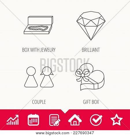 Brilliant, Gift Box And Couple Icons. Box With Jewelry Linear Sign. Edit Document, Calendar And Grap
