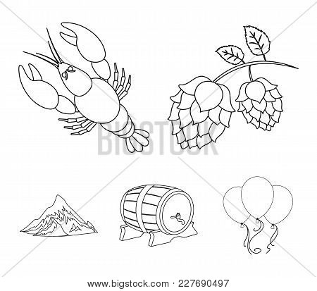Alps, A Barrel Of Beer, Lobster, Hops. Oktoberfestset Collection Icons In Monochrome Style Vector Sy