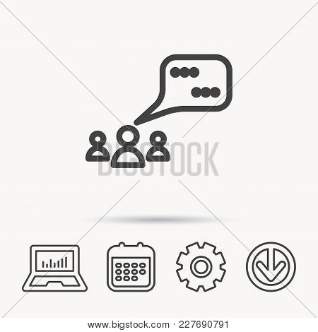 Meeting Icon. Chat Speech Bubbles Sign. Speak Balloon Symbol. Notebook, Calendar And Cogwheel Signs.
