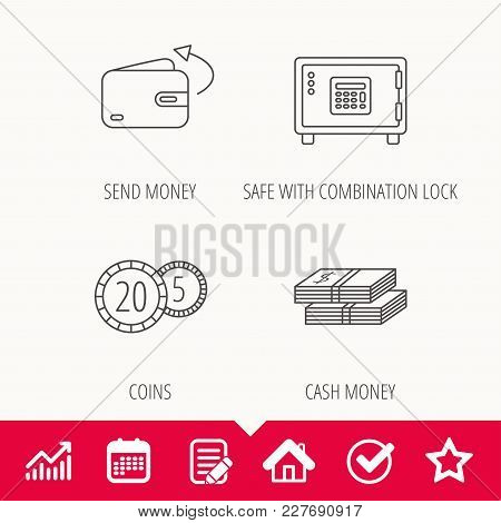 Coins, Cash Money And Wallet Icons. Safe Box, Send Money Linear Signs. Edit Document, Calendar And G