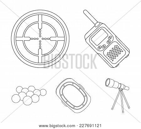 Balls With Paint And Other Equipment. Paintball Single Icon In Outline Style Vector Symbol Stock Ill