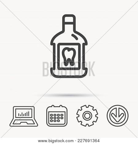 Mouthwash Icon. Oral Antibacterial Liquid Sign. Notebook, Calendar And Cogwheel Signs. Download Arro