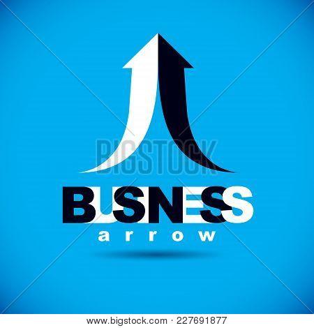 Vector Rising Arrow. Business Success Conceptual Logo. Company Development Trend.