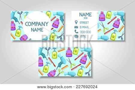 Vector Modern Colorful Business Card Template Set With Pet Store Grooming Items. Front Page And Back