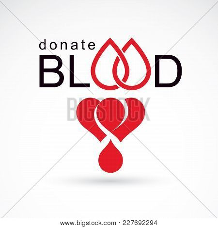 Save Life And Donate Blood, Rehabilitation Conceptual Vector Illustration Created Using Heart Shape